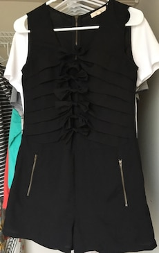 Black Romper with bow embellishments