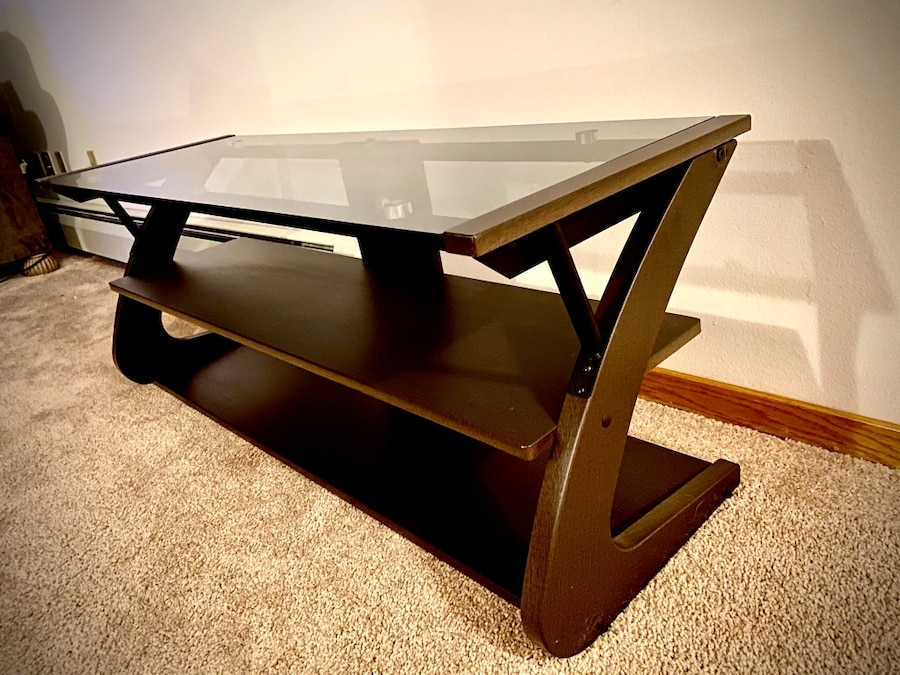 Photo Sculpten and Modern TV Stand with Glass Shelves Dark Brown/Black