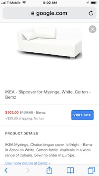 IKEA chaise langue with extra white color cover good condition