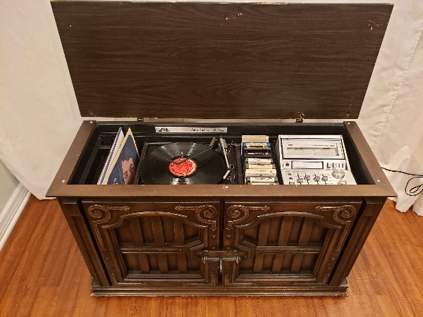 Image result for antique 8 track console player