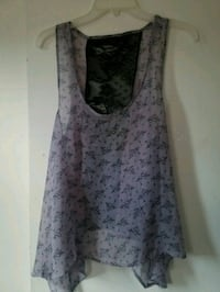 women's gray and black floral sleeveless dress