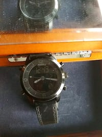 round silver-colored chronograph watch with black leather strap Los Angeles, 90025