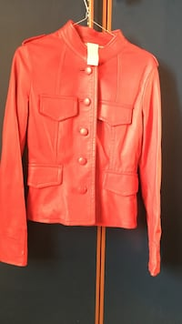 giacca button-up in pelle rossa