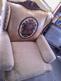Vintage wingback sofa chair original wood and fabric Lancaster, 93536