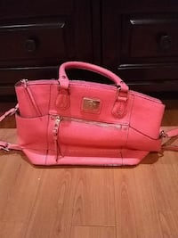pink leather 2-way handbag