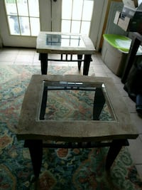 Pair of stone/glass/metal side tables Goldsboro, 27530