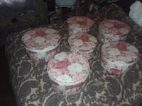 7 hatboxes.... tiny white faux ivory chest....2 crystal candleabras