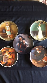 Set of 5 Norman Rockwell plates with COA Kawartha Lakes, K0M 1N0