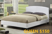 Brand new white queen faux leather platform bed frame warehouse sale  马卡姆, L3S 4B5