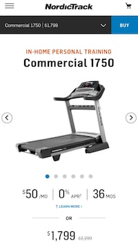 NordicTrack Commercial 1750 Treadmill. Retails for $1,800. 1 Year iFit