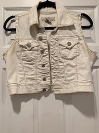 Women's White Crop Jean Vest (Size Medium) Oxnard, 93033