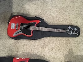 Squier Jaguar Bass - Candy Red and Fender Rumble 25 Amp