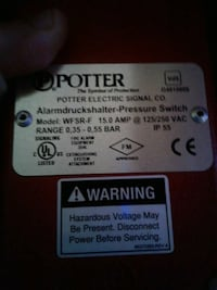 pressure switch for fire suppression system. brand Livonia