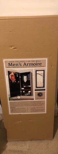NEW men's armoire with mirror for wall mount or over the door