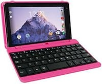 "2 in 1 Tablet Laptop 7"" Screen Quad Core Processor 16GB Keyboard USB Pink Gift FRANKFURT"
