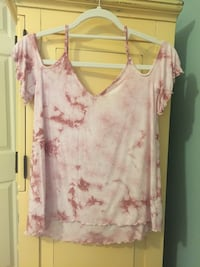 pink and white splattered tye dye off the shoulder Harrison, 37341
