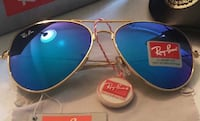 Ray Ban Gold Frame / Blue Lens / All Logos + Serial Number New York, 10314