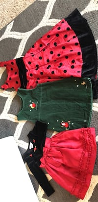 girls Christmas dresses size 2T- 4T-6/7