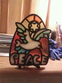 Hip stained glass look PEACE candle holder