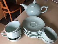 Set of 5 jade coloured tea cups with kettle Vaughan, L6A 2Y3