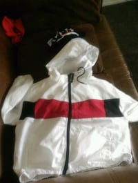 white and red zip-up hoodie Fresno, 93706