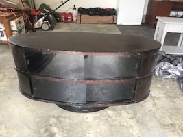 black and brown wooden Entertainment Stand