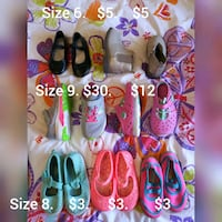 Little girls sneakers and dress shoes size 6-8-9