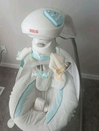 baby's white and blue cradle n swing Calgary, T3J 1A5