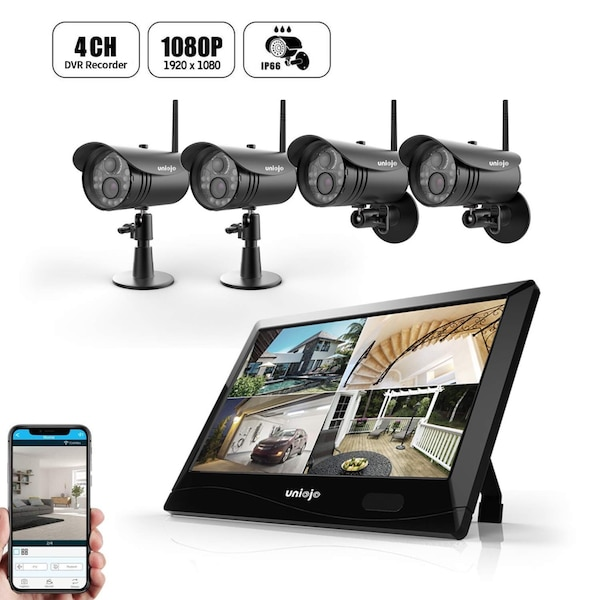 Wireless Security Camera System Outdoor (4Pcs), UNIOJO 1080P DVR with  10 1inches LCD Touch Screen Monitor, 4 HD 2 0 Megapixel Night Vision IP66