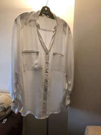 White fancy dress blouse size 22 so plus size excellent shape asking $10 see pictures  3738 km
