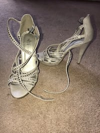 pair of white open-toe ankle strap heels Downey, 90241