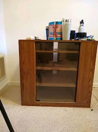 brown wooden TV hutch with cabinet Owings Mills, 21117