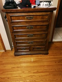 Oak and Birch Tall Boy Dresser