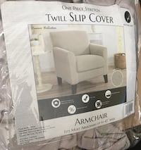 1 Pc Stretchy Silver/Light Gray ARMCHAIR Twill Slip Cover