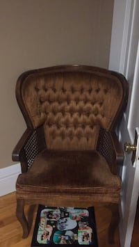 brown wooden framed brown padded armchair Fitchburg, 01420
