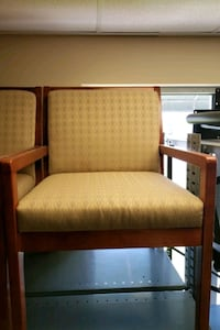 Gold Cloth Side Chair with Cherry wood frame