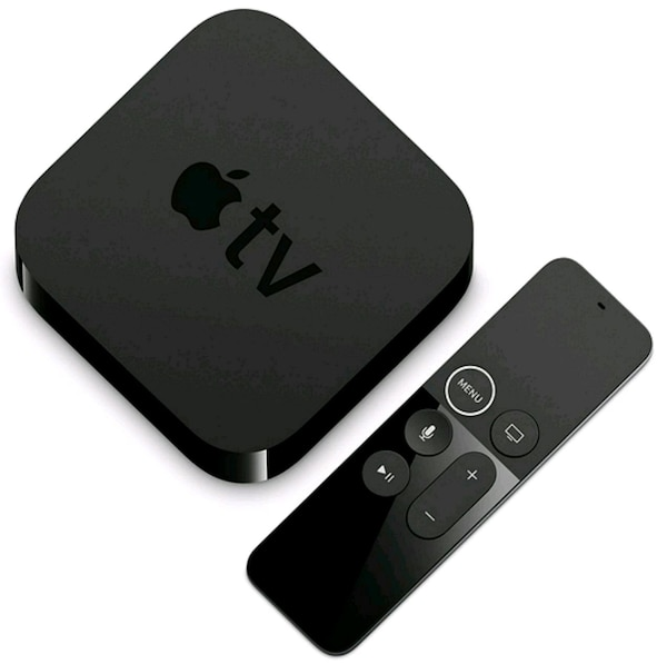 black Apple TV with Remote