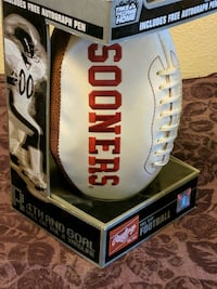 Oklahoma sooners full size football with autograph pen in box
