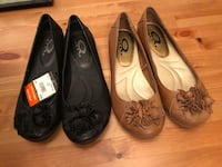 Two pairs of black and brown leather flats- size 8 - marks work warehouse - new tags attached . Regular 79.99$ each  Edmonton, T6W 2L4