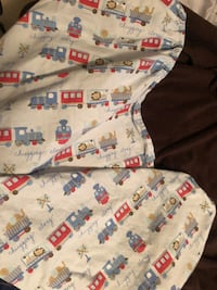 White, red, and blue textile diaper bag and crib skirt (set available)