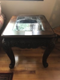 rectangular brown wooden framed glass top coffee table GREENLAWN