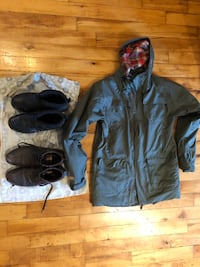 Winter jacket, winter boots, formal/casual shoes