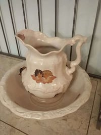 gray and brown ceramic pitcher with basin East Hampton, 06424