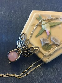 Sterling Silver Fairy Pendant with pink gemstone ball / Long Silver chain & Pendant together Alexandria, 22311