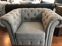 Like New - Linen Tufted Rolled Arm Chair Somerville, 02145