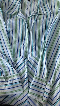 black, blue, and green stripe button up long sleeve shirt Chandler, 75758
