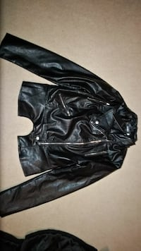 Brand new black faux leather zip-up jacket