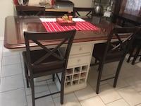 Rectangular brown & white wooden table with four chairs dining set San Juan, 78589