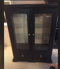 Black wooden framed glass cabinet Reston, 20190
