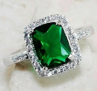 Emerald ring sz 8 & earing set real 925silver Kissimmee, 34741